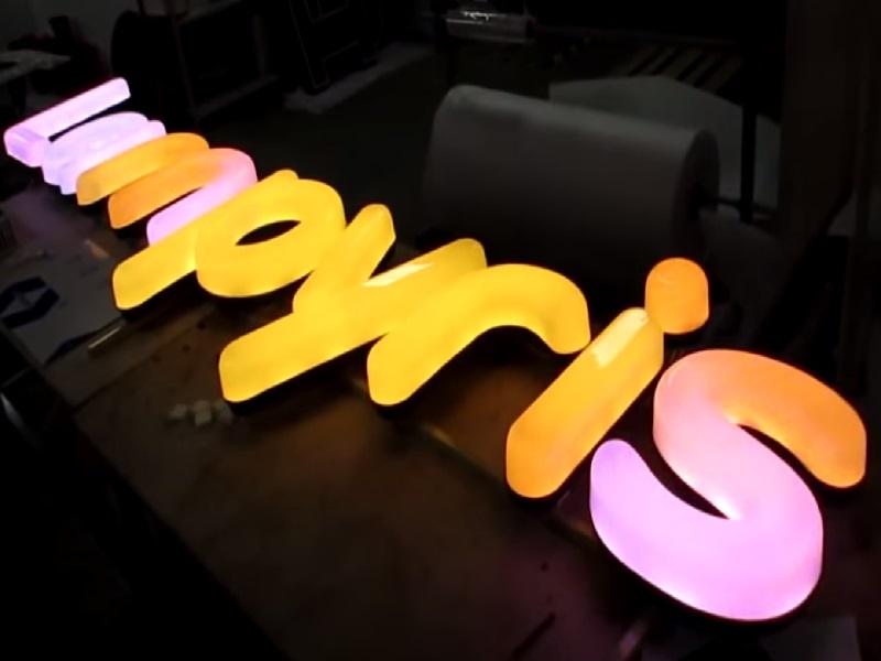 объемные буквы с rgb диодами из акрила
