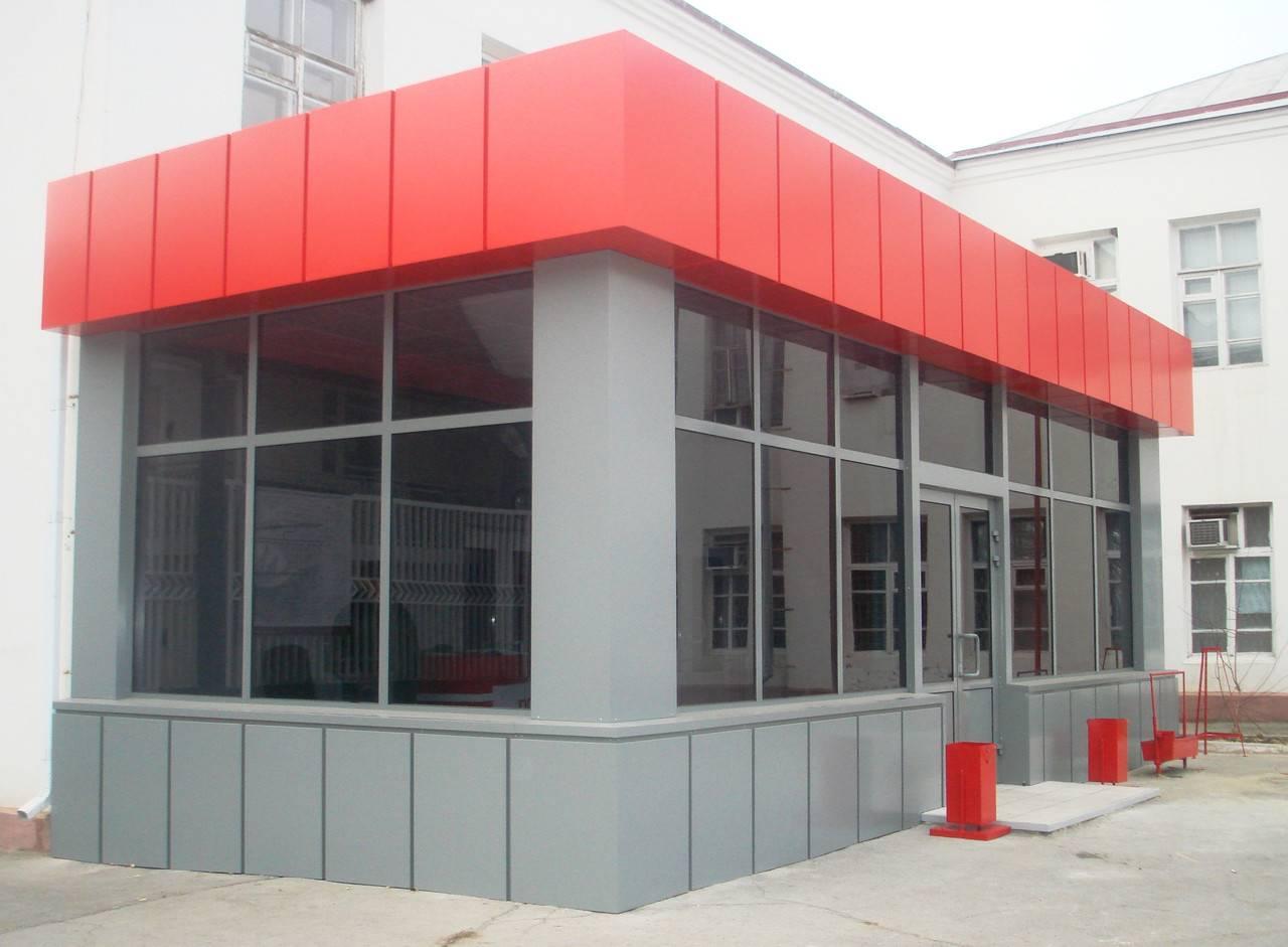 композитная облицовка фасада входной группы для размещения рекламы